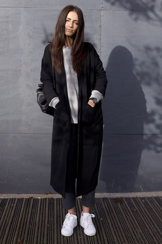 How to wear: white low top sneakers, charcoal wool skinny pants, grey oversized sweater, black coat