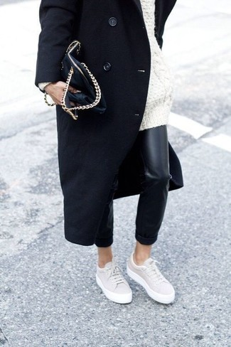 How to wear: beige low top sneakers, black leather skinny pants, white knit oversized sweater, black coat