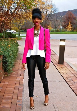 How to wear: tan leopard suede pumps, black leather skinny pants, white peplum top, hot pink blazer