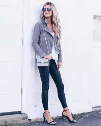 How to wear: black suede heeled sandals, black quilted leather skinny pants, white sleeveless top, grey suede biker jacket