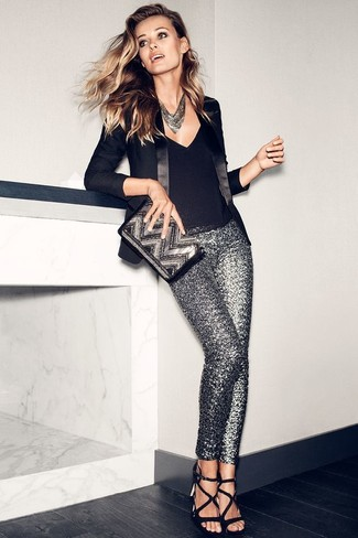How to wear: black leather heeled sandals, silver sequin skinny pants, black sleeveless top, black blazer