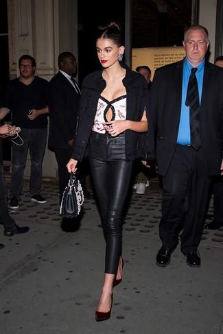 How to wear: burgundy velvet pumps, black leather skinny pants, white sequin sleeveless top, black denim jacket