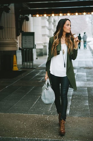 How to wear: brown leather lace-up ankle boots, black leather skinny pants, white sleeveless top, dark green open cardigan