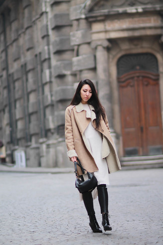 How to wear: black leather lace-up ankle boots, black leather skinny pants, white sweater dress, tan shearling coat