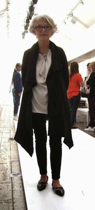 How to wear: black leather loafers, black skinny pants, grey silk tunic, black coat