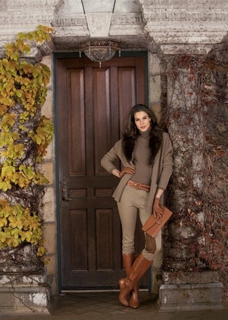 How to wear: tobacco leather knee high boots, tan skinny pants, brown turtleneck, brown cardigan