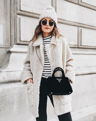 How to wear: black suede crossbody bag, black skinny pants, white and black horizontal striped turtleneck, beige fleece coat