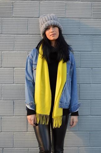 How to wear: grey knit beanie, black skinny pants, black knit turtleneck, blue denim jacket