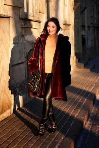 How to wear: black studded leather lace-up flat boots, black leather skinny pants, tan turtleneck, burgundy fur coat