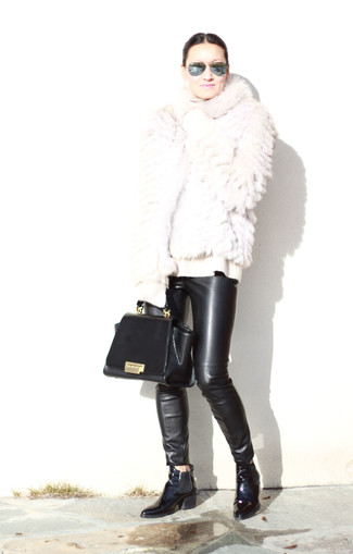 How to wear: black leather chelsea boots, black leather skinny pants, white wool turtleneck, white fur jacket