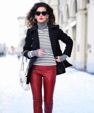 How to wear: white quilted leather satchel bag, red leather skinny pants, white and black horizontal striped turtleneck, black pea coat