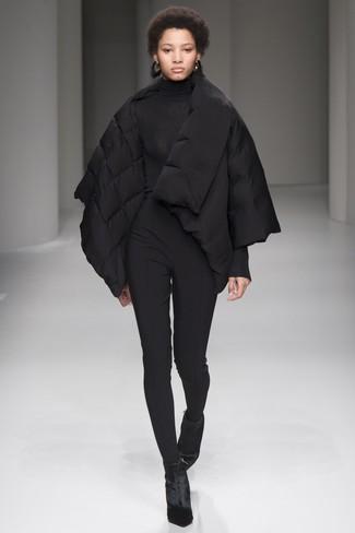 How to wear: black velvet ankle boots, black skinny pants, black turtleneck, black puffer jacket