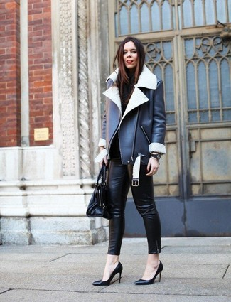 How to Wear Black Leather Skinny Pants: Consider wearing a black and white shearling jacket and black leather skinny pants to assemble an interesting and modern-looking off-duty outfit. If you're hesitant about how to finish off, complement this ensemble with black leather pumps.