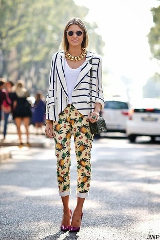 How to wear: purple leather pumps, yellow print skinny pants, white v-neck t-shirt, white and navy vertical striped blazer
