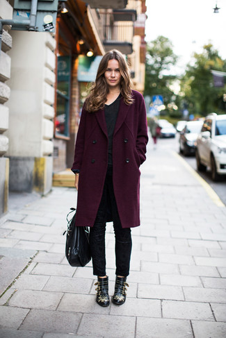 How to wear: black studded leather ankle boots, black skinny pants, black v-neck t-shirt, dark purple coat
