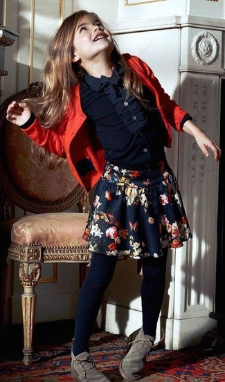 How to Wear Navy Tights Smart Casually For Girls: Your mini fashionista will look cute in a red cardigan and navy tights. Grey desert boots are a nice choice to complete this getup.