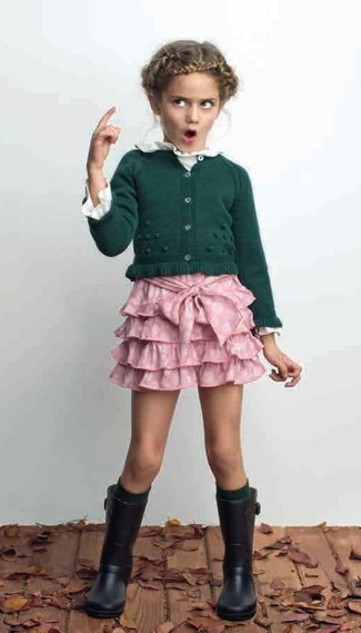 How to wear: black rain boots, pink skirt, white long sleeve t-shirt, dark green cardigan