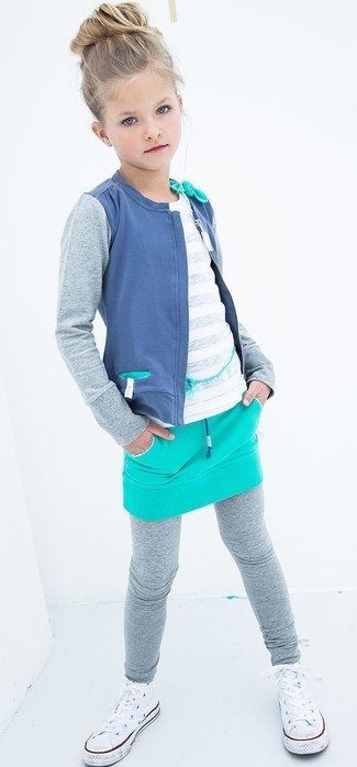 How to wear: grey leggings, aquamarine skirt, white t-shirt, blue cardigan