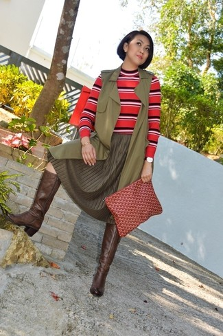 Women's Olive Sleeveless Coat, Orange Horizontal Striped Crew-neck Sweater, Olive Pleated Midi Skirt, Dark Brown Leather Knee High Boots