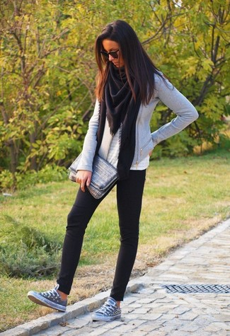 How to wear: black leggings, white eyelet sleeveless top, grey biker jacket, black shawl