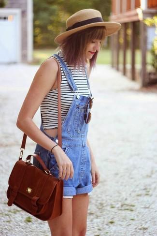 How to wear: white and black horizontal striped sleeveless turtleneck, blue denim overall shorts, brown leather crossbody bag, khaki straw hat
