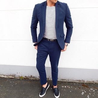 How to wear: black leather belt, black leather slip-on sneakers, white and navy horizontal striped crew-neck t-shirt, navy wool suit