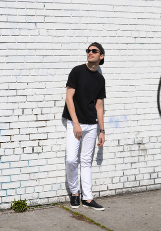 How to wear: charcoal baseball cap, black leather slip-on sneakers, white jeans, black crew-neck t-shirt
