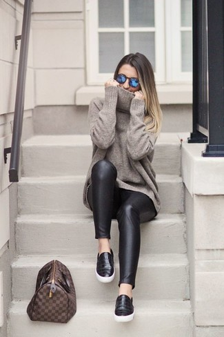 How to wear: brown check leather tote bag, black leather slip-on sneakers, black leather leggings, grey oversized sweater
