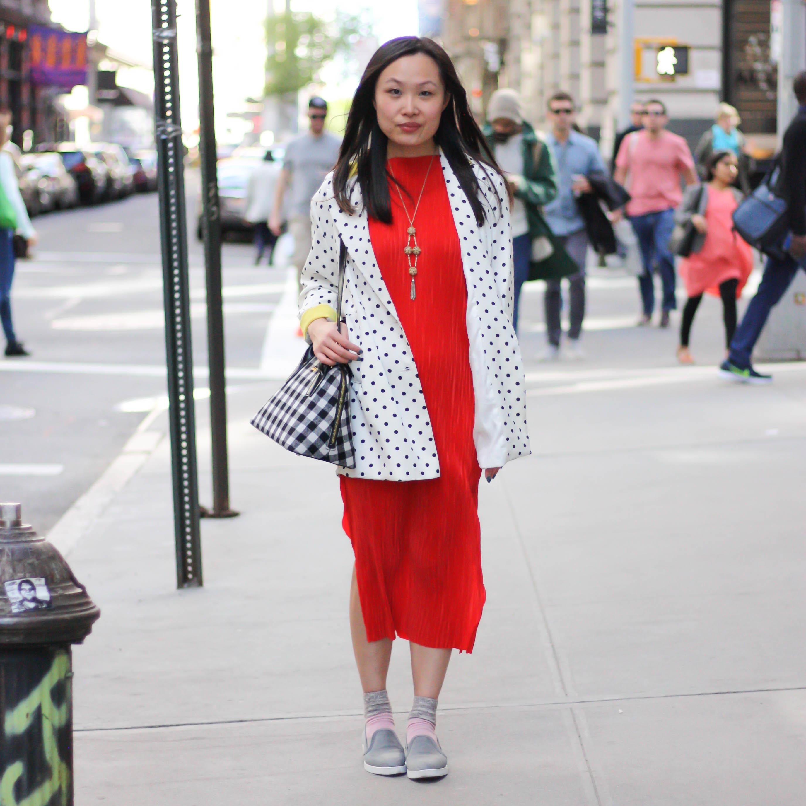 bd26959ec91952 Women's Black and White Geometric Leather Tote Bag, Grey Slip-on Sneakers, Red  Midi Dress, White and Black Polka Dot Blazer | Women's Fashion | Lookastic  UK