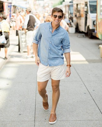 How to wear: dark brown sunglasses, brown woven leather slip-on sneakers, white shorts, light blue chambray long sleeve shirt