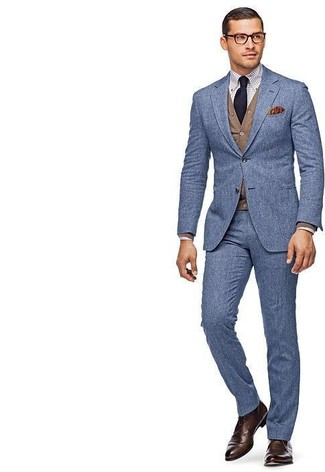 How to wear: blue wool suit, brown cardigan, white check dress shirt, dark brown leather derby shoes