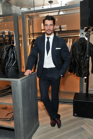 David Gandy wearing Navy Wool Suit, White Cardigan, White Dress Shirt, Burgundy Leather Oxford Shoes