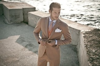 How to wear: tan suit, tobacco cardigan, white and blue vertical striped dress shirt, brown wool tie