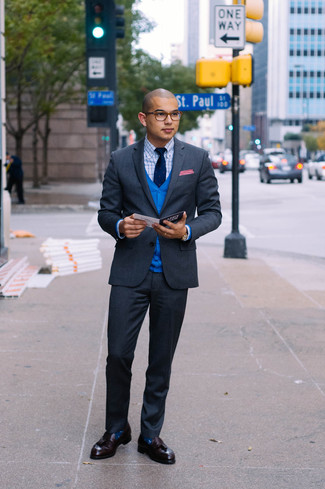 How to wear: charcoal suit, blue cardigan, white and blue check dress shirt, burgundy leather tassel loafers
