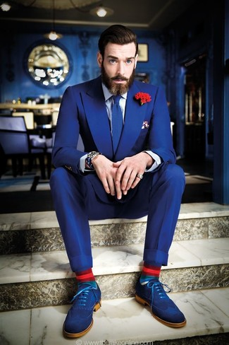 How to wear: blue suit, white and navy vertical striped dress shirt, blue suede brogues, blue knit tie