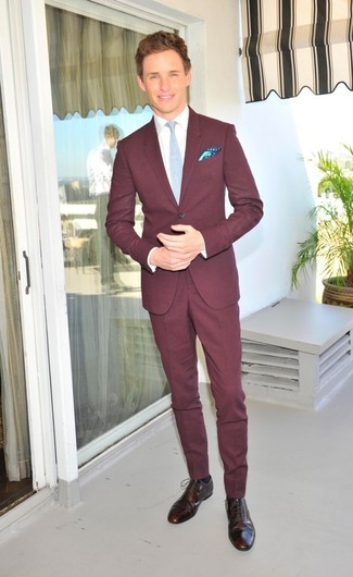 How to wear: burgundy suit, white dress shirt, dark brown leather brogues, light blue tie