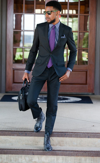 How to wear: black suit, navy and white gingham dress shirt, black leather casual boots, black leather briefcase