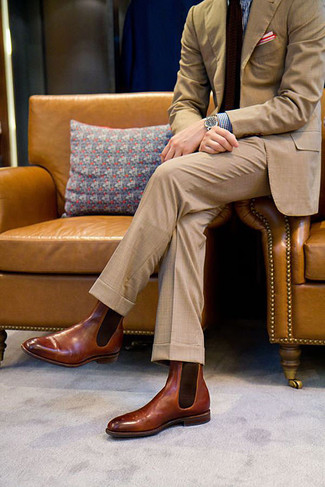 How to wear: tan suit, blue gingham dress shirt, brown leather chelsea boots, dark brown knit tie