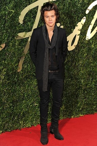 Harry Styles wearing Black Suit, Black Dress Shirt, Dark Brown Suede Chelsea Boots, Black Polka Dot Scarf