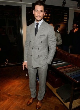 David Gandy wearing Grey Wool Suit, White Dress Shirt, Brown Leather Derby Shoes, Black Tie
