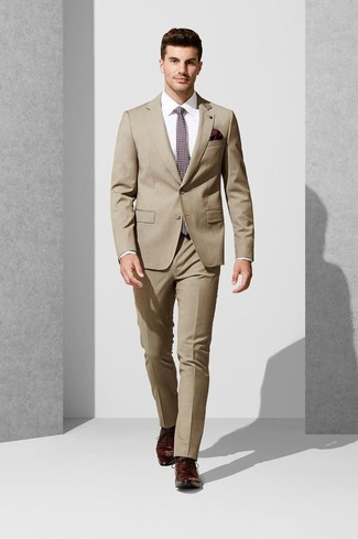 How to wear: tan suit, white dress shirt, burgundy leather derby shoes, burgundy print tie