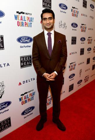How to wear: burgundy suit, white dress shirt, dark brown suede derby shoes, burgundy tie