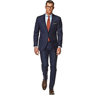 How to wear: navy suit, white and blue gingham dress shirt, dark brown leather double monks, orange polka dot tie