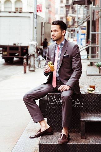 How to wear: brown suit, navy gingham dress shirt, brown leather loafers, pink tie