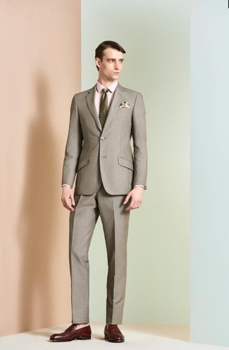 How to wear: brown suit, pink dress shirt, burgundy leather loafers, olive print tie