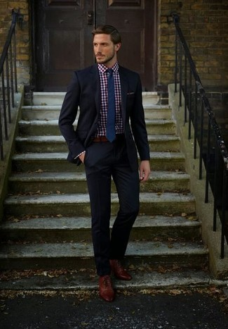 Men's Black Suit, Red and Navy Gingham Dress Shirt, Brown Leather ...