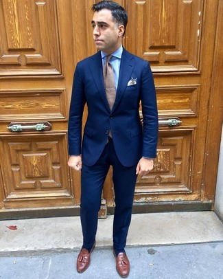 How to wear: navy suit, light blue dress shirt, brown leather tassel loafers, brown polka dot tie