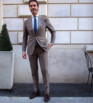 How to wear: brown suit, light blue dress shirt, dark brown suede tassel loafers, navy tie