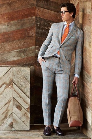 How to wear: grey plaid suit, light blue vertical striped dress shirt, dark brown leather tassel loafers, brown suede tote bag