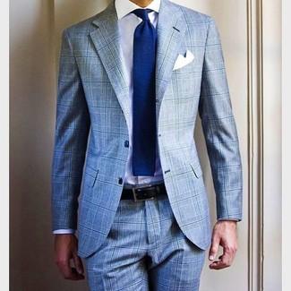How to wear: light blue plaid suit, white dress shirt, blue knit tie, white pocket square